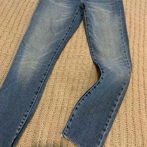 straight legged high waisted jeans